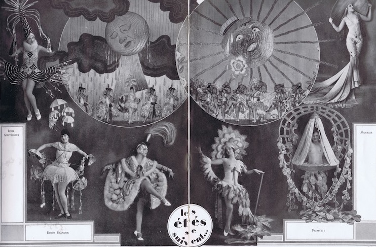 The scene Soleil de 1927 and 1928 with costumes designed by Zig for the show De La Folie Pure at the Folies Bergere, 1929