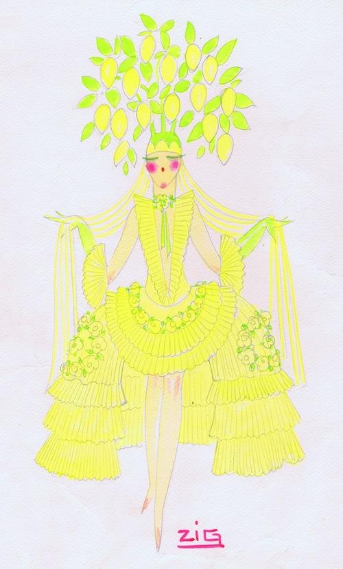 A costume design for Lemons by Zig, 1920s (seen in La Revue Quinconces at the Casino des Quinconces in Bordeaux, 1930)