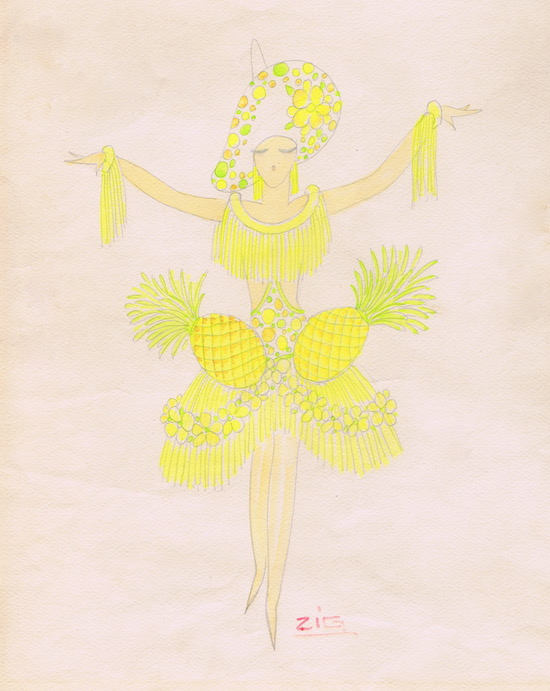 A costume design for Pineapples by Zig, 1920s (seen in La Revue Quinconces at the Casino des Quinconces in Bordeaux, 1930)