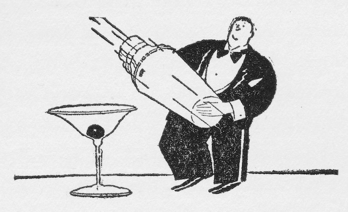 A whimsical sketch of cocktail making from the 1920s