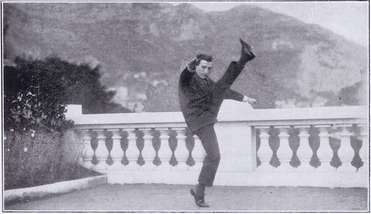 Harry Cahill doing his high kicking at Monte Carlo in January 1924
