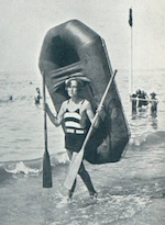 Fay Harcourt on the beach at Deauville, 1928 (image courtesy of The Mary Evans Picture Library from The Sphere 11/8/28)