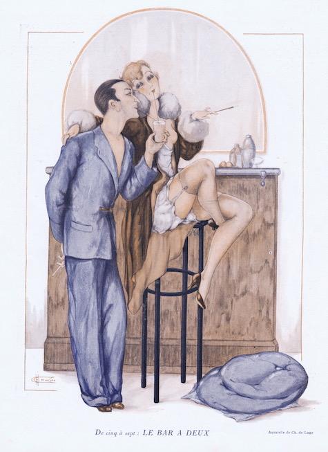 A sketch entitled 'De Cinq a Sept' Le Bar a Deux, 1920s