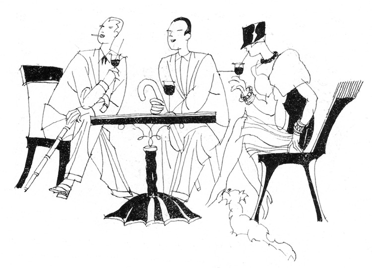 A delightful sketch of three people enjoying cocktails from the 1920s