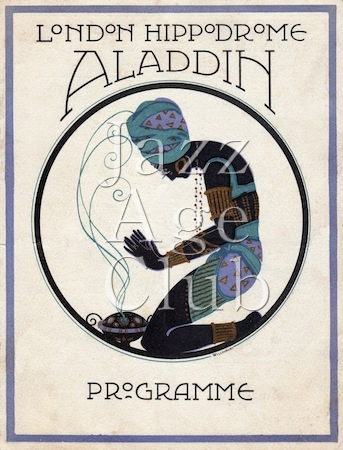 Programme cover for Aladdin staged at the London Hippodrome, 1920