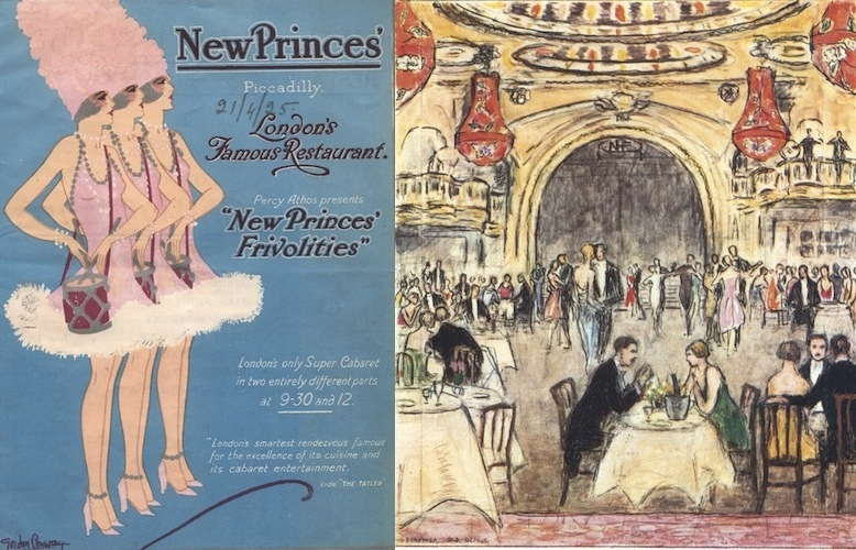 Programme cover for the New Princes Frivolities and a sketch of the interior of the New Princes Restaurant