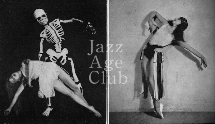 Natacha Nattova in a solo dance and with one of the members of her adagio troupe in their in a skeleton costume, 1930