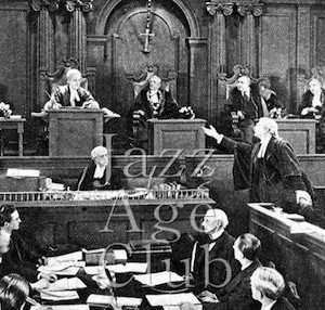 The courtroom scene in The Flames of Passion (1922)