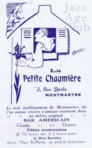 Advert for La Petit Chaumiere, Paris