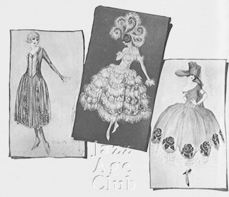 Sketches by Marcelle de St Martin for one of the early Famous Player's Lasky films (early 1920s)
