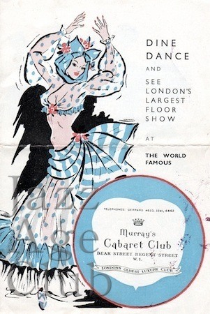 Programme cover for Murray's Cabaret Club, date uncertain but possibly from 40s or 50s