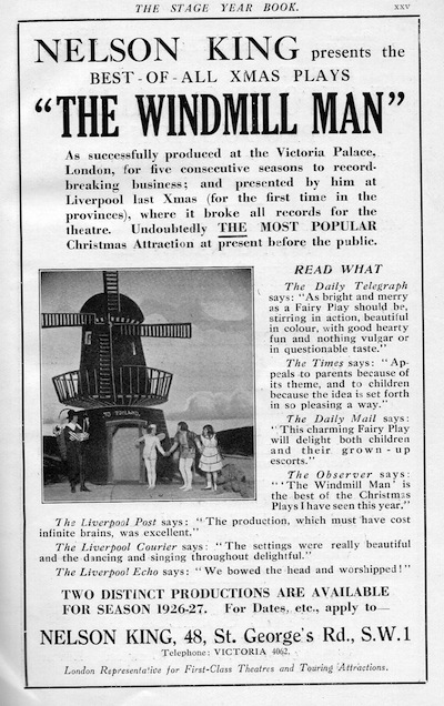 Advert for The Windmill Man, the popular Christmas Play