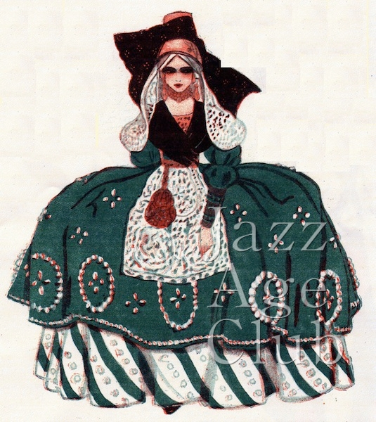 Dolly Tree's costume sketch for the Dutch Garden scene in Julian Wylie's The Peepshow at the London Hippodrome, 1921