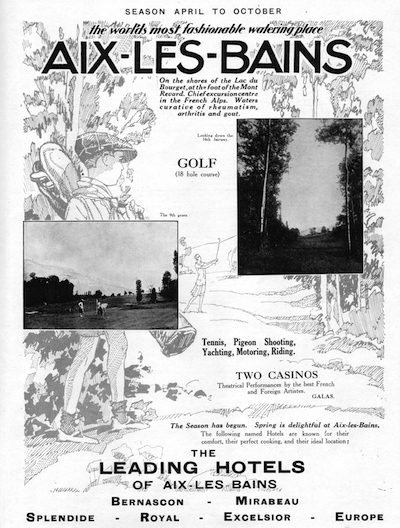Advert featuring the attractions of Aix le Bains, 1927