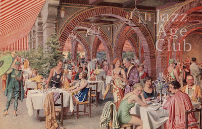 The terrace at the Hotel Excelsior, Lido, Venice, 1920s