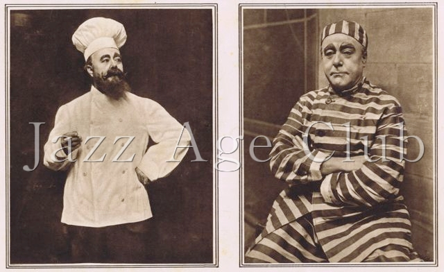 Two poses of George Robey, the star of Julian Wylie's Round in 50 at the London Hippodrome, 1922