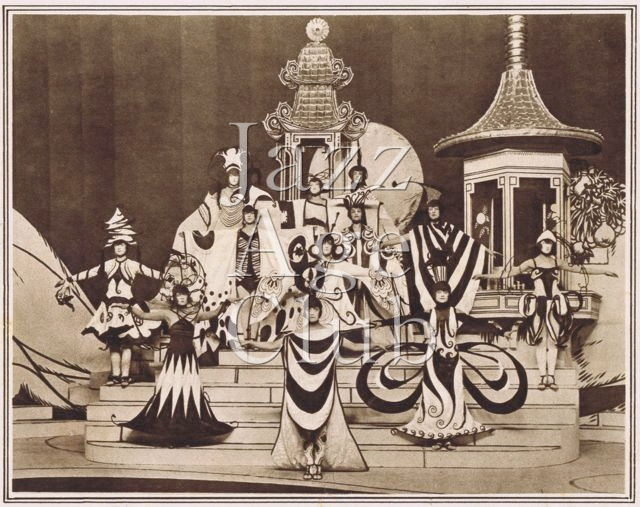 The Romance of the Tea Leaves scene from Julian Wylie's Round in 50 at the London Hippodrome, 1922