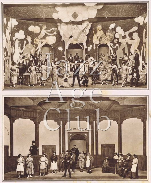 The transformation scene from a cabaret to Teetotallers meeting in Julian Wylie's Round in 50 at the London Hippodrome, 1922