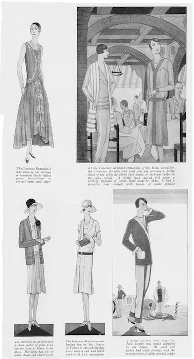 Contemporary fashions seen at the Lido, Venice in 1927Contemporary fashions seen at the Lido, Venice in 1927