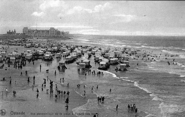 A view of the beach at Ostend, 1920s