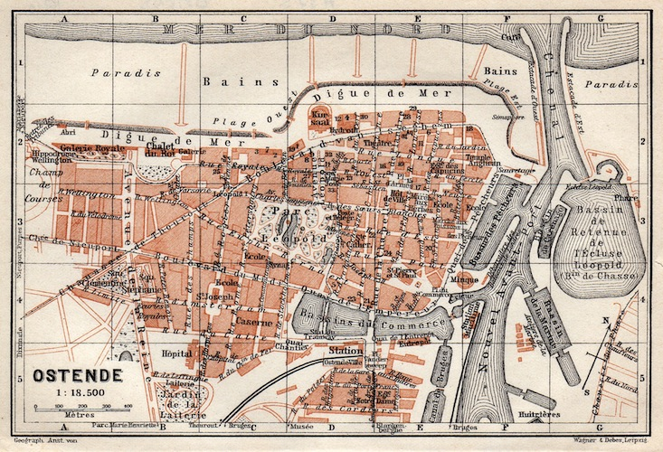 A map of Ostende, 1920s