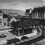 A view of the Place deVille, Aix le Bains, 1920s