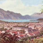 A view of Aix Le Bains, toward Lac du Bourget, 1920s