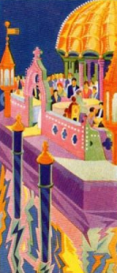A colourful view of outdoor dining at the Excelsior Hotel, Lido, 1920s