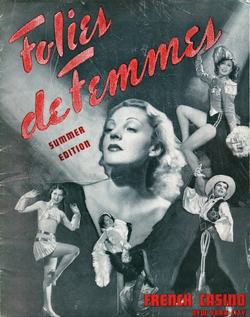 The programme cover for the cabaret show Folies de Femmes, staged at the French Casino in New York 1936