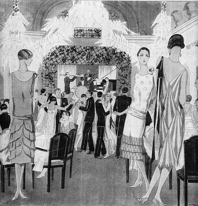 A sketch of night time frivolity at the Villa des Fleurs in Aix-Le-Bains