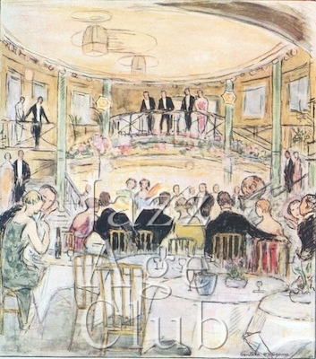 A sketch of the interior of the Cafe de Paris showing the famous double staircase