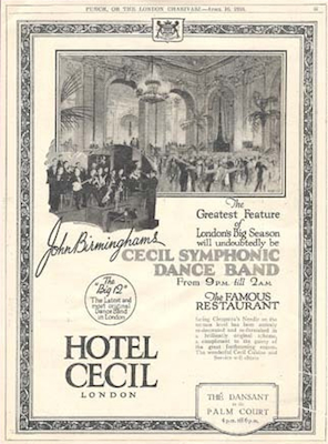 Advert for the Hotel Cecil