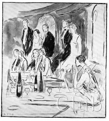 Sketch of gala night at the Cafe de Paris, 1926