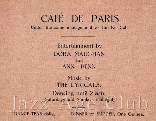 Advert for the cafe de Paris, late 1920s