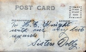 Postcard to Harry Knight from The Dolly Sisters
