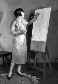 Dolly Tree sketching in June 1926 wearing the two-piece suit seen in The Lodger (1926)