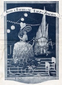 Front of programme for summer entertainment at the Chez Nous cabaret at Excelsior Hotel, Lido, 1920s