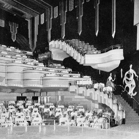 Part view of the interior showing restaurant floor and mezzanine of the French Casino, New York