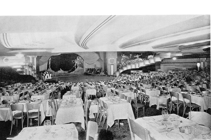 Part view of the restaurant and the stage in the French Casino, New York