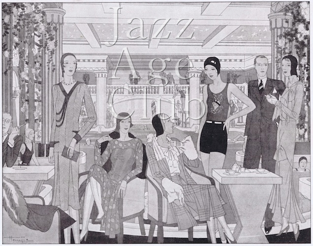A sketch of people enjoying the Lido, Paris, 1929