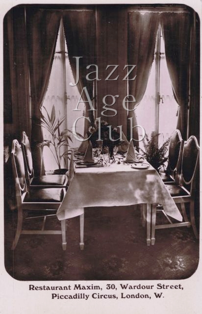 A view of a table setting at Maxim's, London, 1920s
