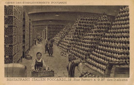 The wine cellar of Poccardi restaurant, Paris