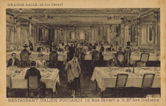 The main dining room of Poccardi restaurant, Paris