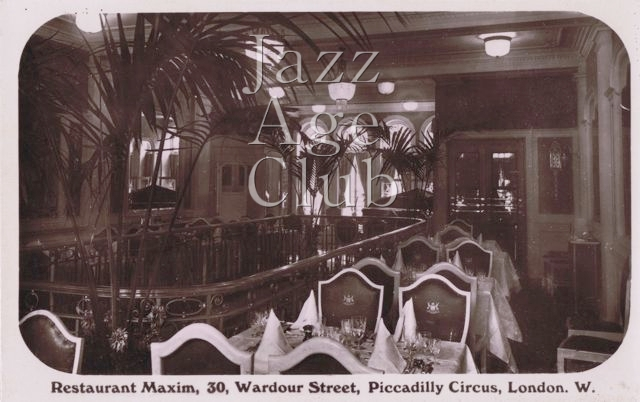 A view of the balcony level (first floor) of Maxim's in London, 1920s