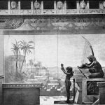 Egyptian bas relief in the 'Peacock Room' in Murray's Roman Gardens, New York