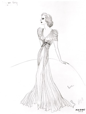 A sketch of a gown by Dolly Tree for Myrna Loy Third Finger Left Hand