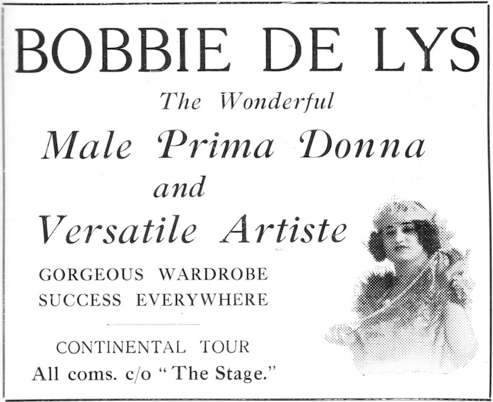 Advert for Bobbie De Lys - drag performer in the Jazz Age