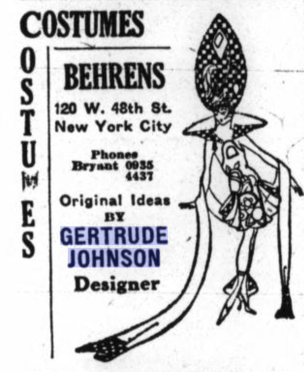 Advert for Behrens Costume Company featuring 'original ideas' by Gertrude Johnson, December 1923