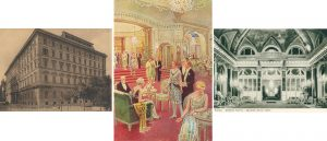Left: the Grand Hotel. Middle: A sketch of the Sala Delle Feste in the Grand Hotel (in the 1920s). Right Salone Delle Feste, Grand Hotel, Rome