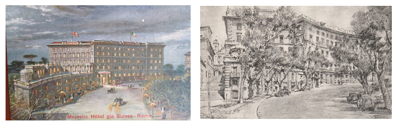 Two views of the Hotel Majestic Rome